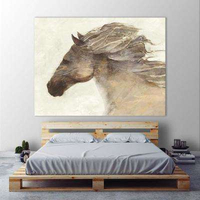"54 in. x 72 in. ""Into the Wind Ivory"" by Albena Hristova Printed Framed Canvas Wall Art"