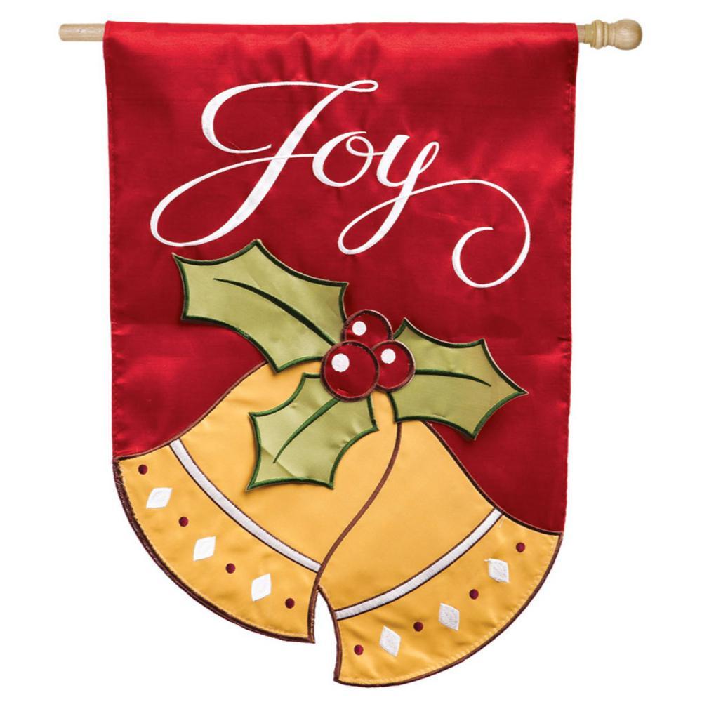 28 in. x 44 in. Joyful Christmas Bells House Applique Flag