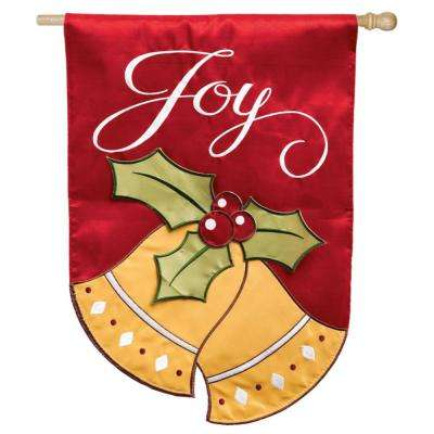 28 in. x 44 in. Joyful Christmas Bells House Applique Flag
