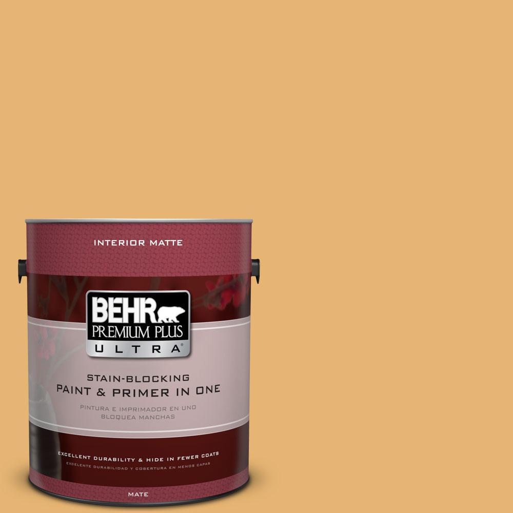 BEHR Premium Plus Ultra 1 gal. #PPU6-4 Pyramid Gold Flat/Matte Interior Paint