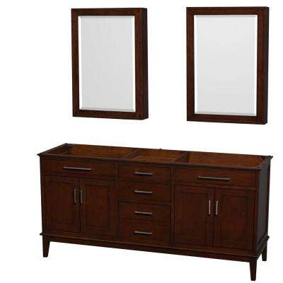 Hatton 71 in. Vanity Cabinet with Mirror Medicine Cabinet in Dark Chestnut