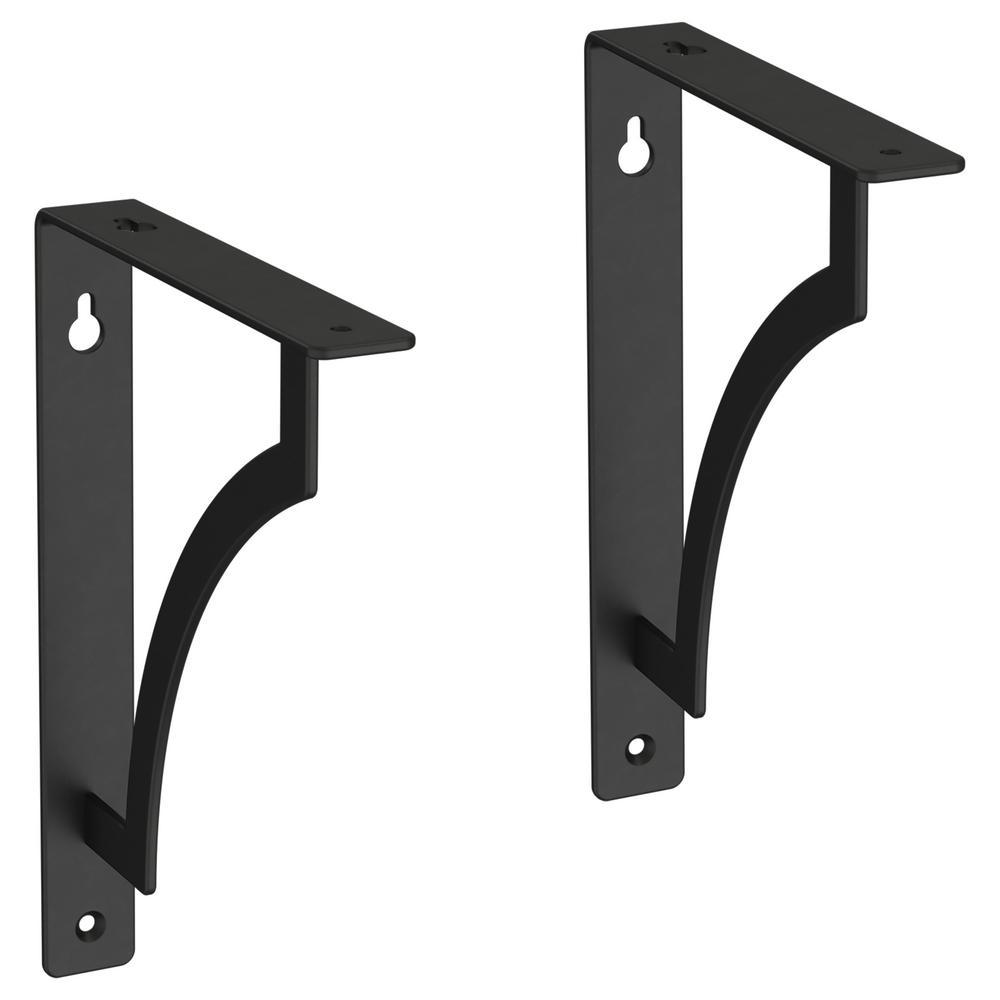 8 in. Matte Black Steel Classic Casual Decorative Shelf Bracket (2-Pack)