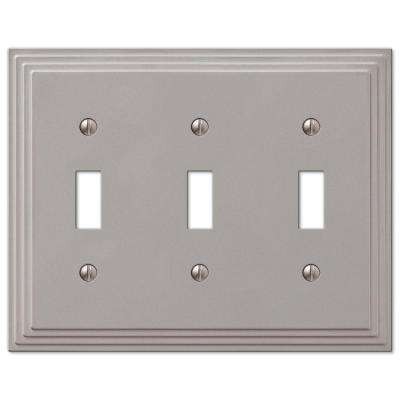 Tiered 3 Toggle Wall Plate Satin Nickel Cast