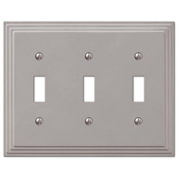 Tiered 3 Gang Toggle Metal Wall Plate - Satin Nickel