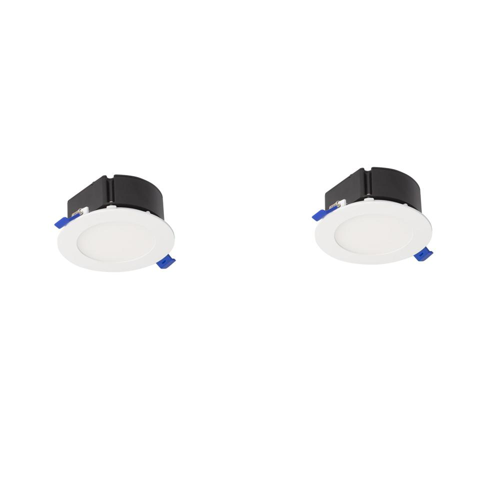BAZZ 4 in. Top Box Slim Matte White Integrated LED Recessed Fixture Kit (2-Pack)