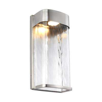 Bennie Painted Brushed Steel Outdoor Integrated LED Wall Mount Lantern