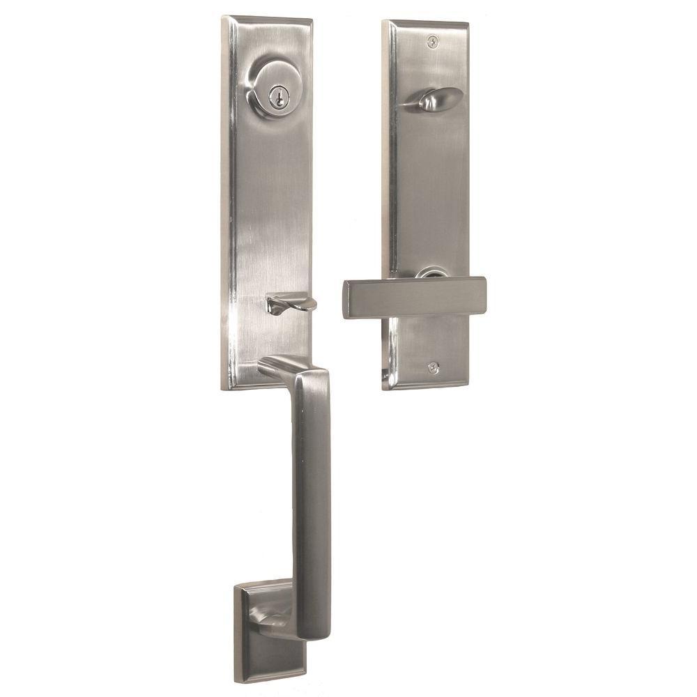 Elegance Single Cylinder Satin Nickel Woodward I Door Handleset with Utica Lever