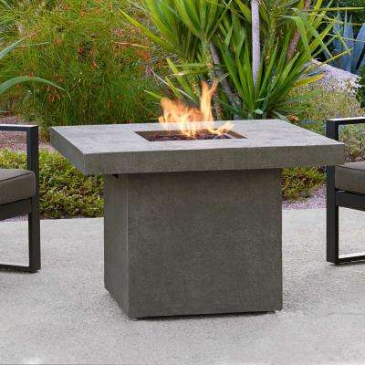 Ventura 36 in. x 25 in. Square Fiber-Concrete Propane Fire Pit in Glacier Gray with Natural Gas Conversion Kit