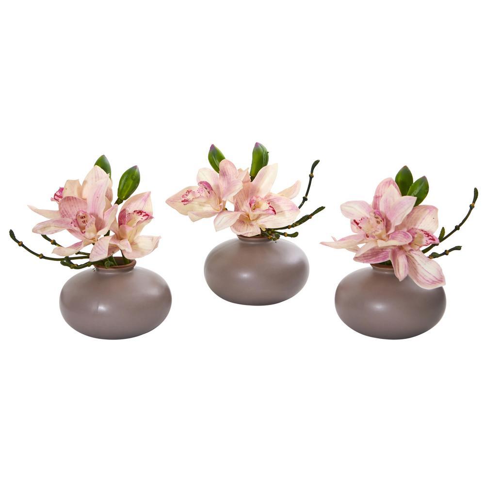 Indoor Cymbidium Orchid Artificial Arrangement (Set of 3)