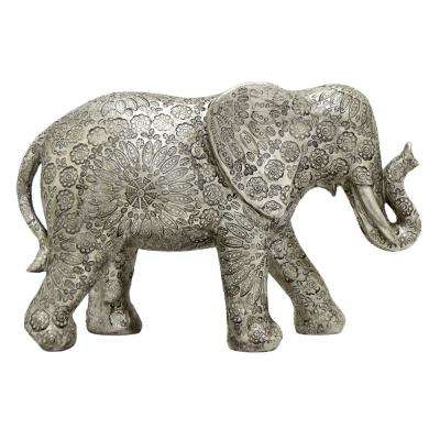 8.5 in. Silver Resin Elephant Table Top Decor