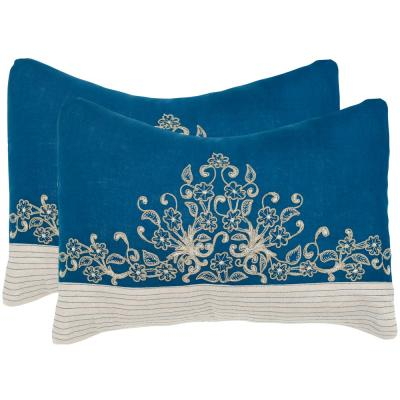 Elena Royal Blue Floral Down Alternative 12 in. x 20 in. Throw Pillow (Set of 2)