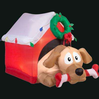 Holiday 3.7 ft. H x 3.64 ft. W Inflatable Animated Dog with Candy Cane Bone