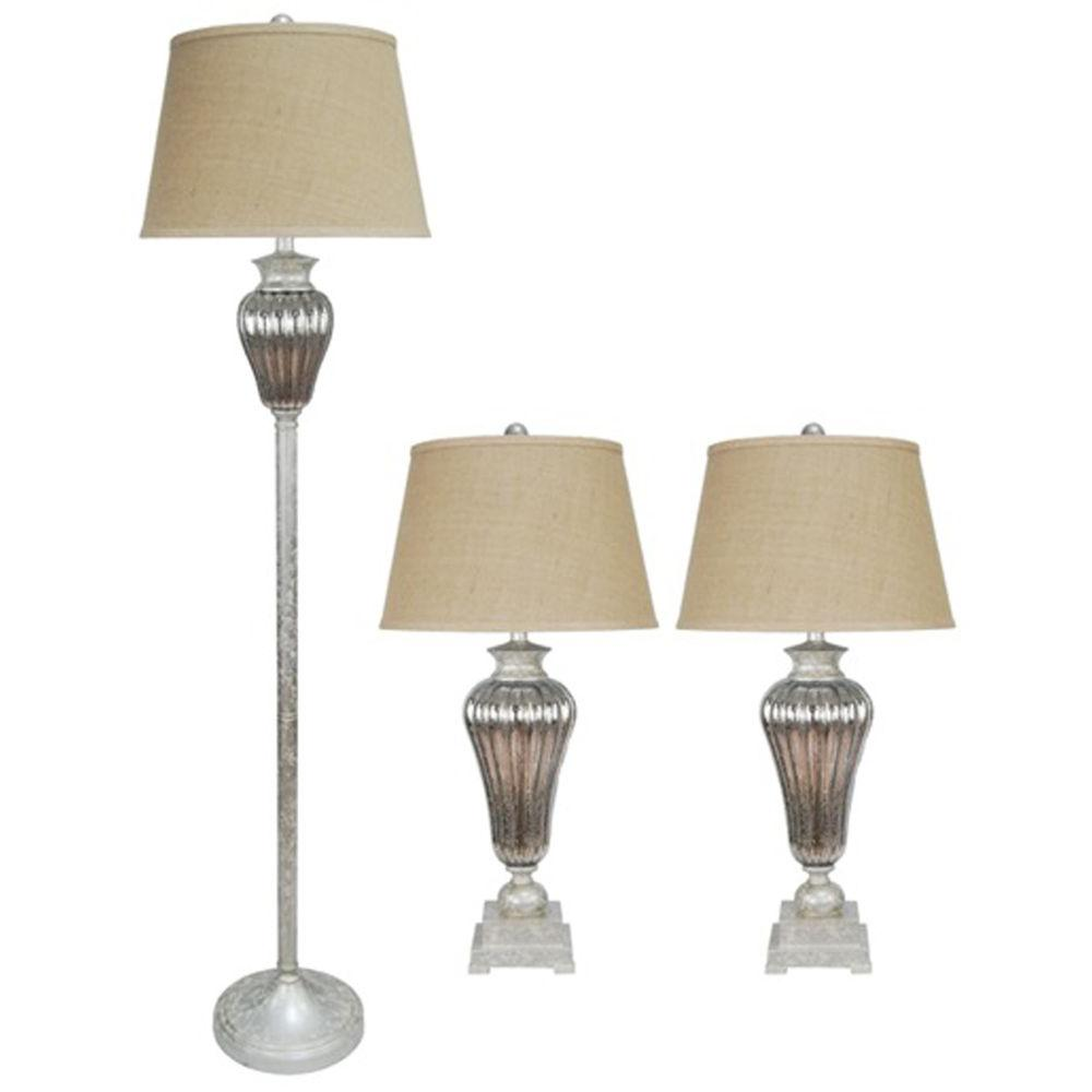 32.5 in. 3-Piece Antique Silver Lamp Set