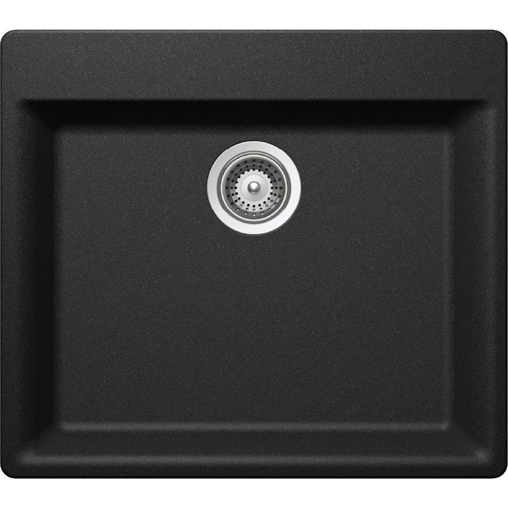 Premium Quartz Drop-In/Undermount Composite 24 in. Single Bowl Kitchen Sink in Charcoal