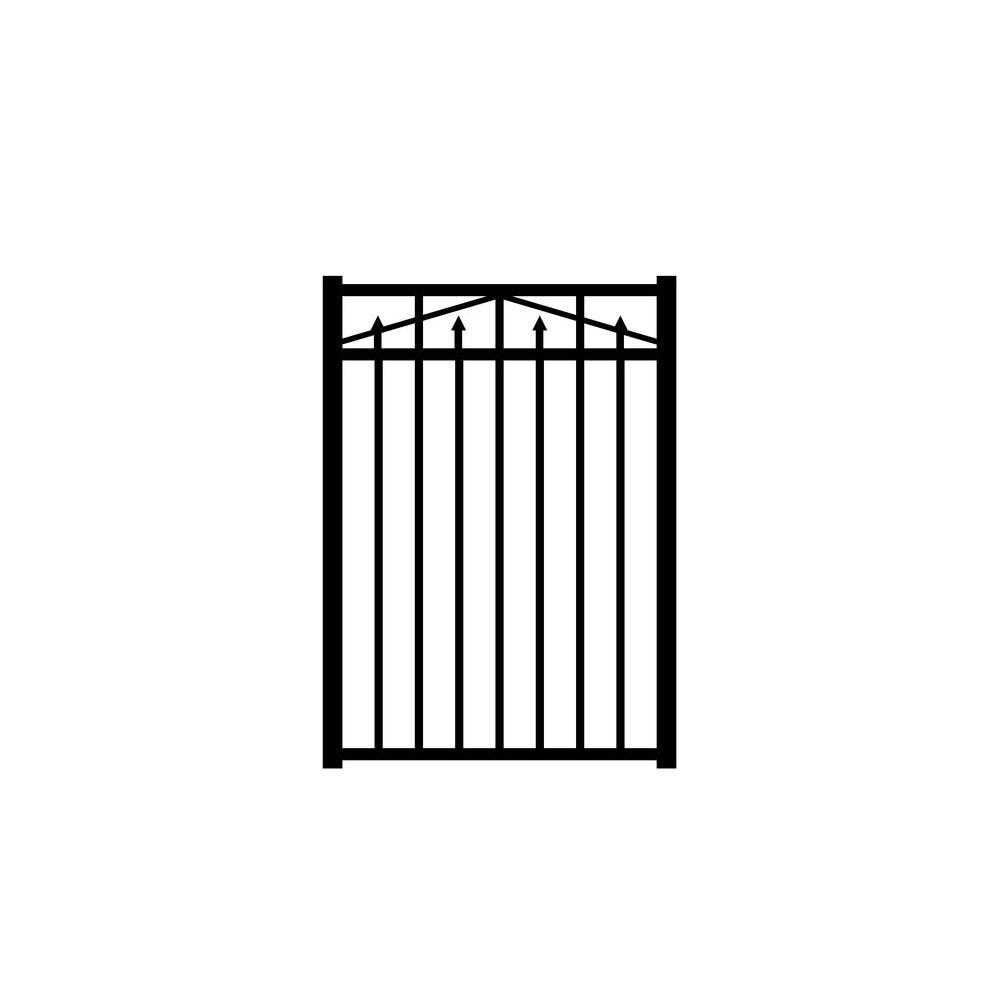Allure Aluminum Provincial 3 ft. W x 4.5 ft. H Black Aluminum 3-rail Fence Gate