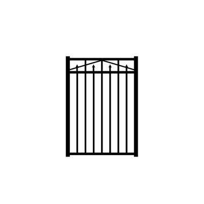 Adams 3 ft. W x 4.5 ft. H Black Aluminum 3-Rail Fence Gate