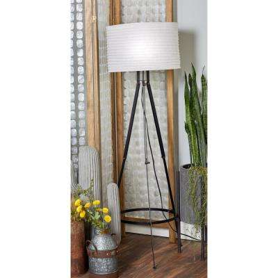 60 in. Black Metal Floor Lamp with Tripod Post and White Cylindrical Shade