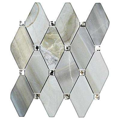 Mirage Lozenge Moonstone Marble and Glass Wall Mosaic Tile - 3 in. x 6 in. Tile Sample