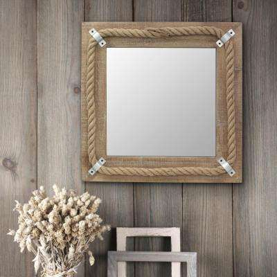 20 in. x 20 in. Brown Wood Square Mirror with Rope Detail
