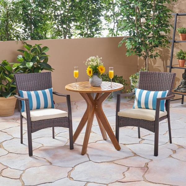 Kent Multi-Brown 3-Piece Wood and Wicker Outdoor Bistro Set with Cream Cushions