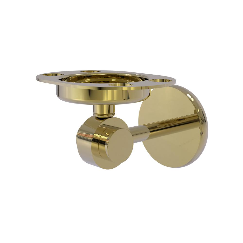 Satellite Orbit 2-Collection Tumbler and Toothbrush Holder in Unlacquered Brass