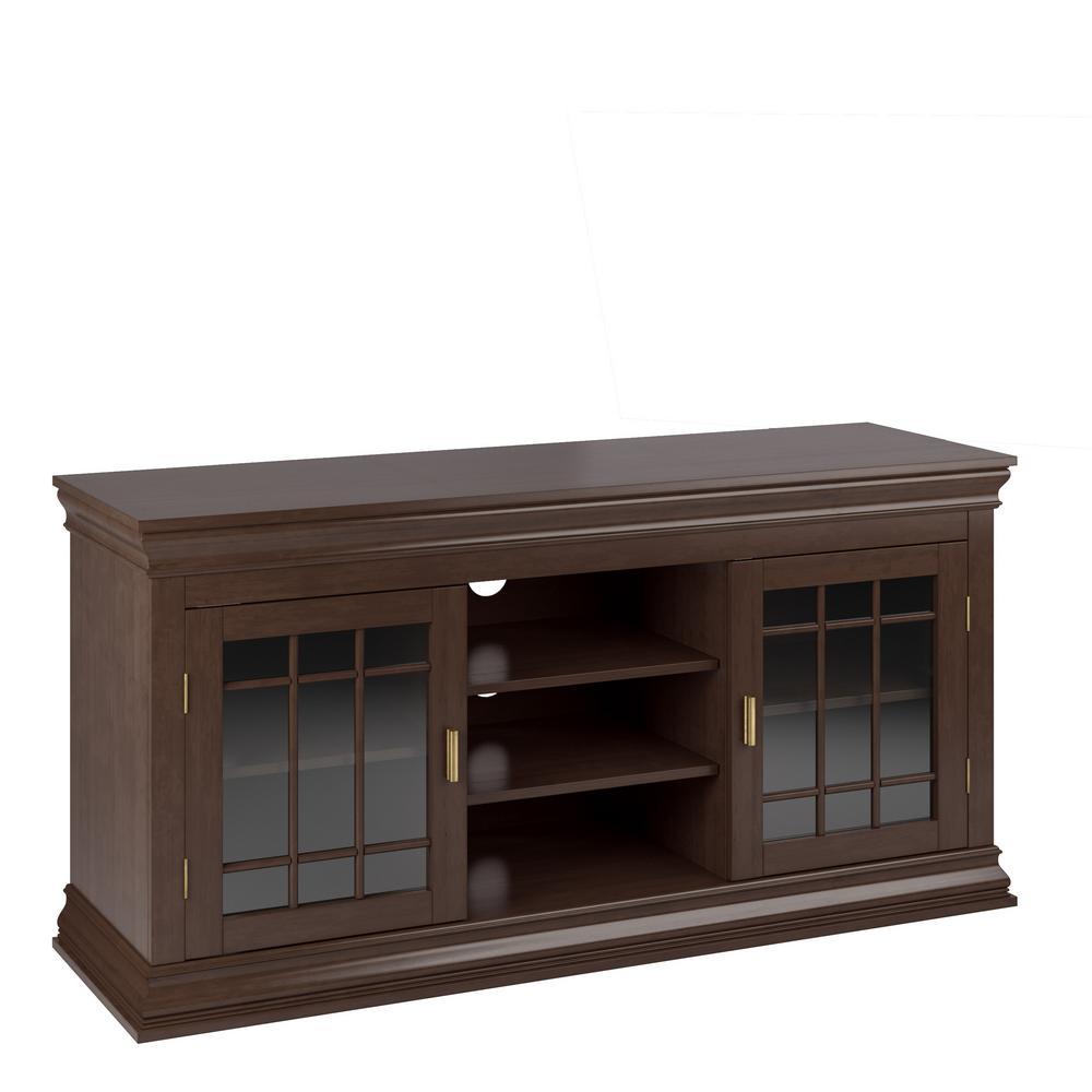 Carson dark espresso wood veneer tv bench for tvs up to 68 in