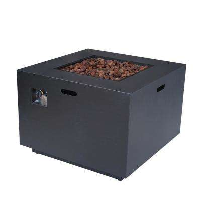 Abdullah 33 in. x 24 in. Square Iron Propane Fire Pit in Dark Grey