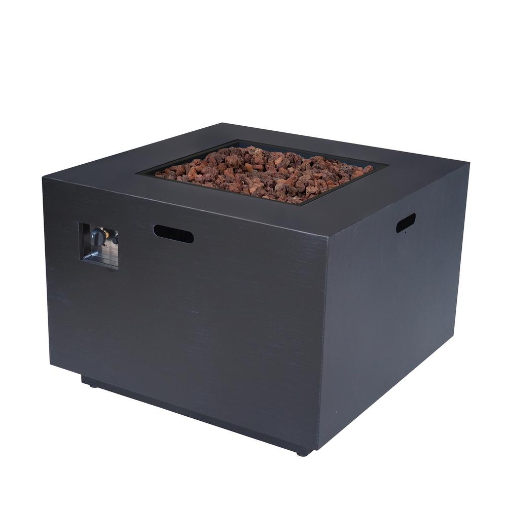 Noble House Abdullah 33 in. x 24 in. Square Iron Propane Fire Pit in Dark Grey