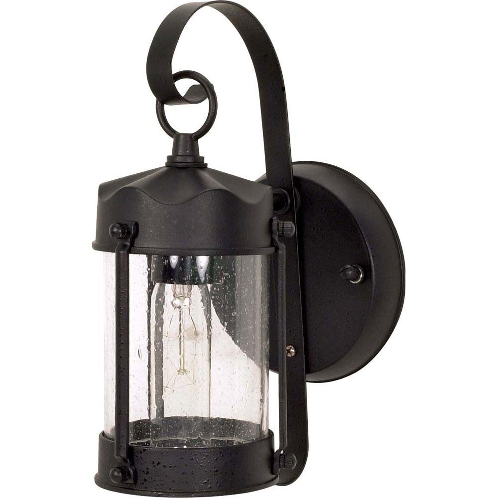 1-Light Outdoor Textured Black Wall Lantern Piper Lantern with Clear Seed