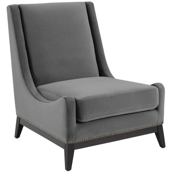 MODWAY Confident Gray Accent Upholstered Performance Velvet Lounge Chair