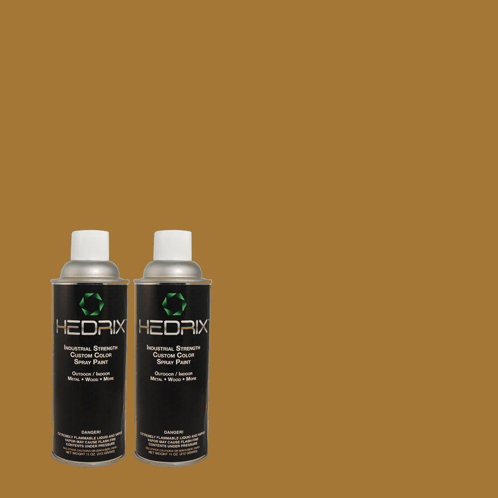 Hedrix 11 oz. Match of 330D-7 Sconce Gold Flat Custom Spray Paint (2-Pack)