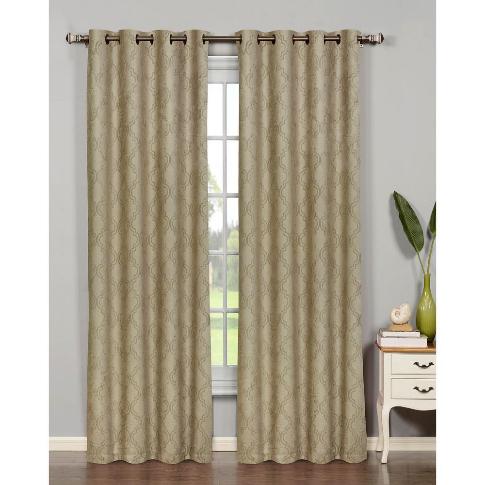 Semi-Opaque Newbury Lattice 84 in. L Room Darkening Grommet Curtain Panel Pair, Taupe (Set of 2)