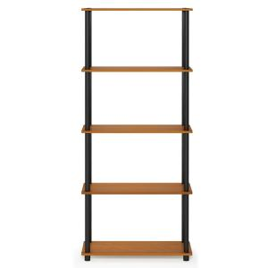 57.4 in. Light Cherry/Black Plastic 5-shelf Etagere Bookcase with Open Back