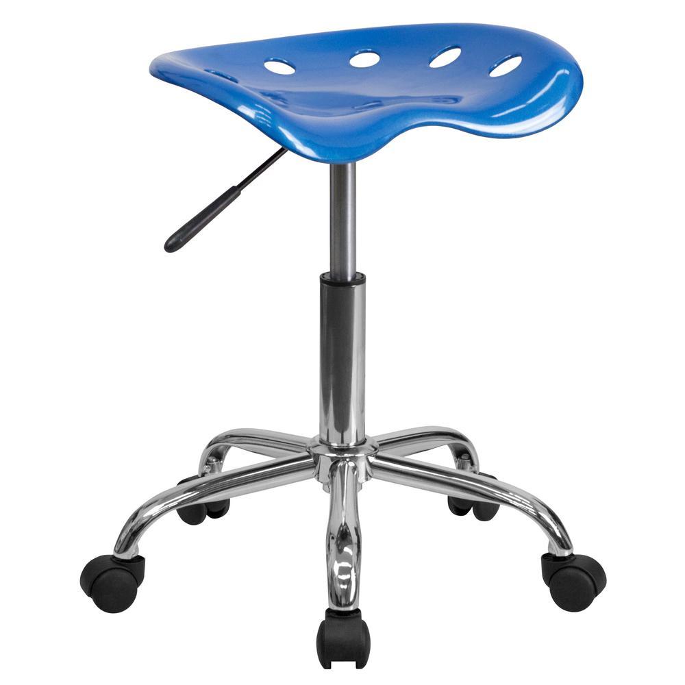 Flash Furniture Vibrant Bright Blue Tractor Seat and Chrome Stool LF214ABRIBLU