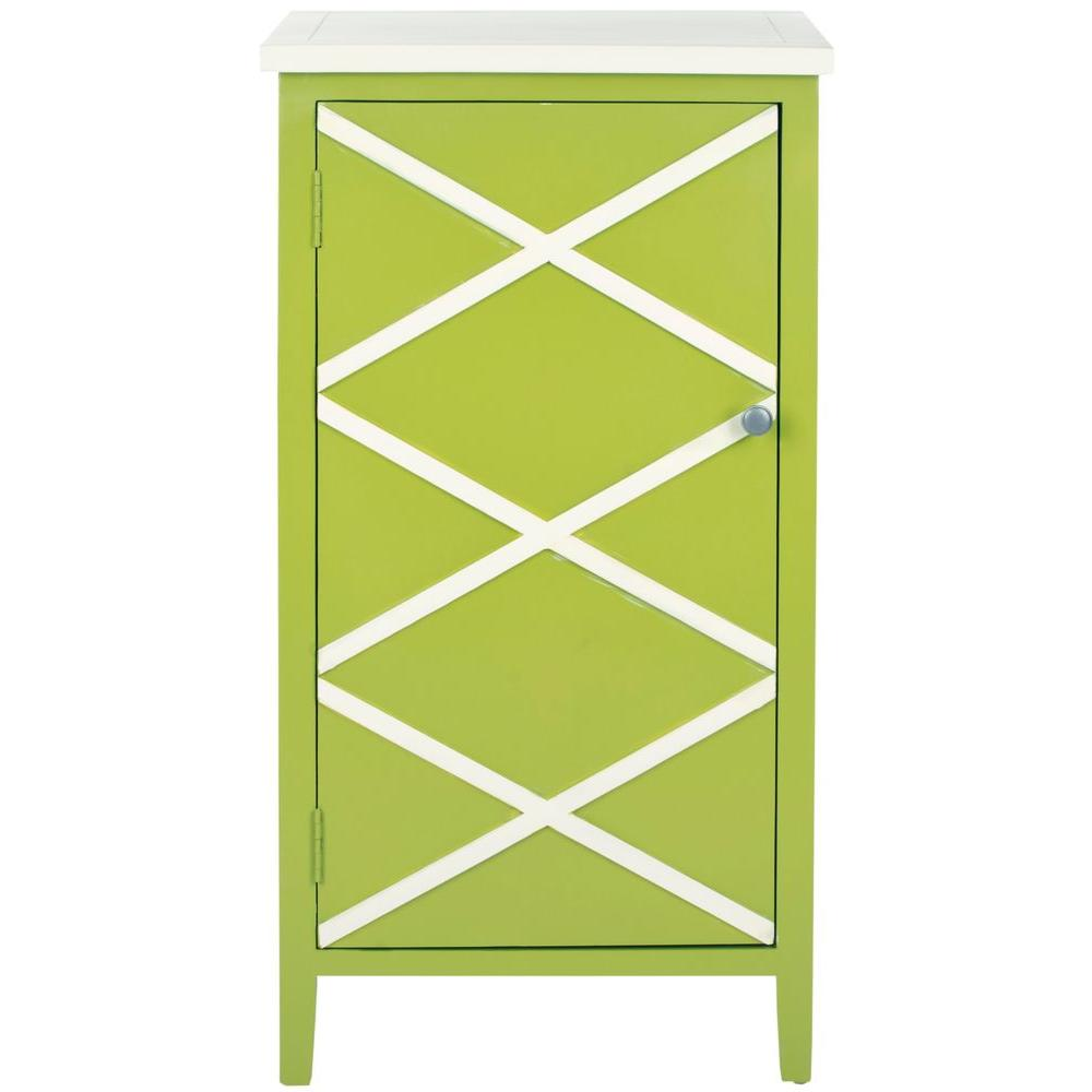 Safavieh 36 in. x 18 in. Cary Lime Green/White Small Cabinet-DISCONTINUED