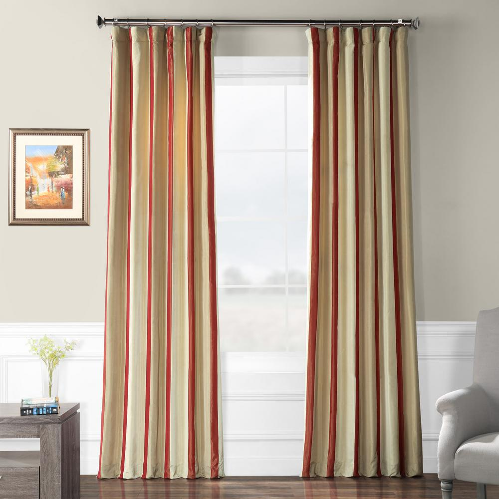 Exclusive Fabrics & Furnishings Manchester Multi-Colored Room Darkening Faux Silk Taffeta Stripe Curtain - 50 in. W x 108 in. L