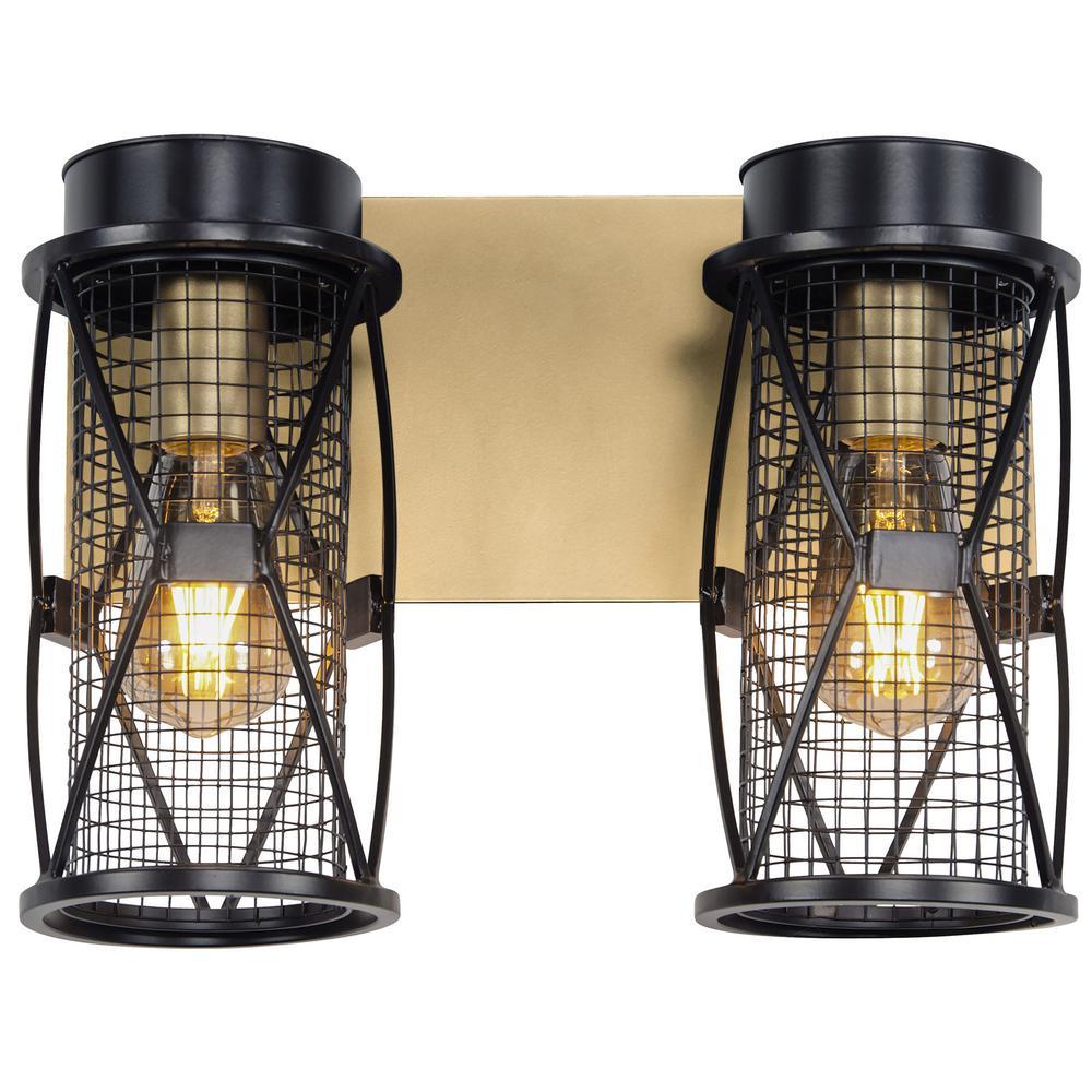 Harlequin 14 in. W 2-Light Warm Bronze/Gold Bath Light