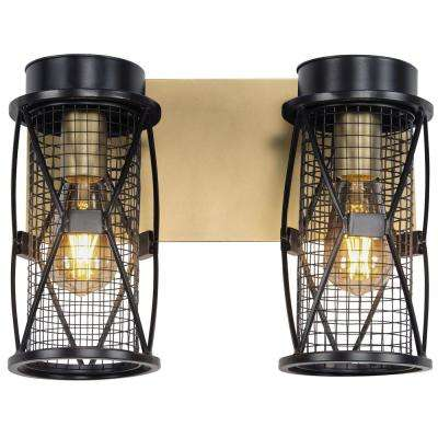 Harlequin 14 in. W 2-Light Warm Bronze/Gold Bath Light