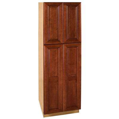 Lyndhurst Assembled 24 x 84 x24 in. Pantry/Utility 2 Double Door & 4 Rollout Trays Utilty Kitchen Cabinet in Cabernet