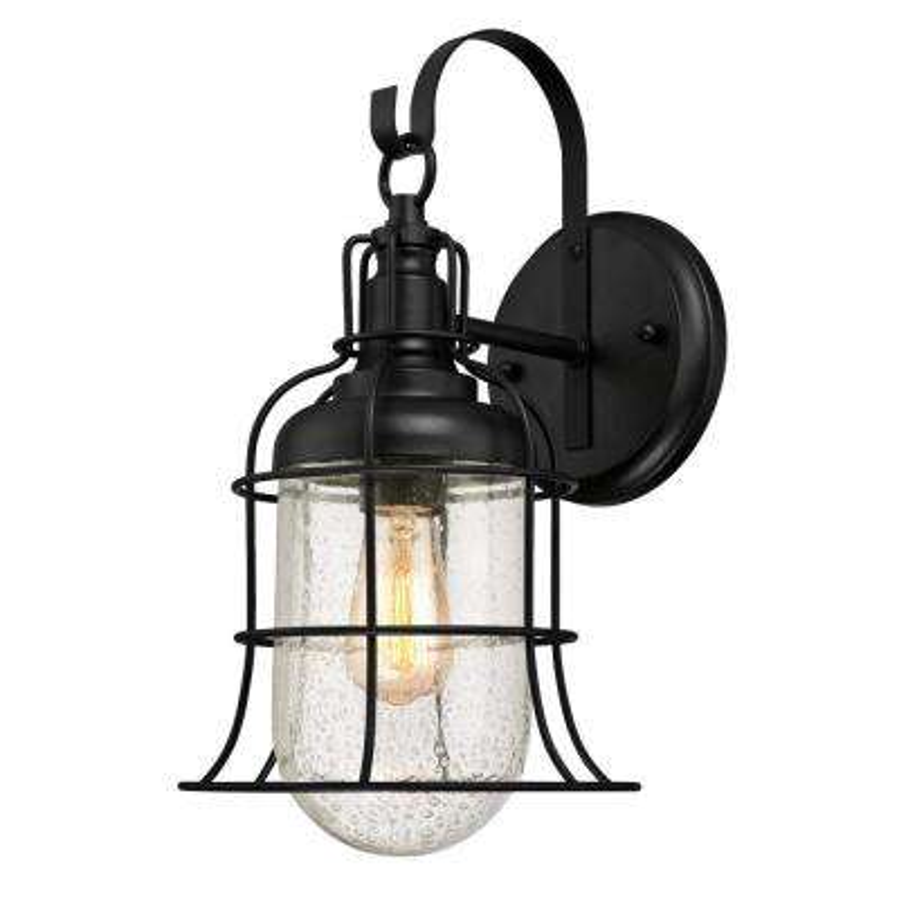 Tavern 1-Light Textured Black Outdoor Wall Mount Lantern