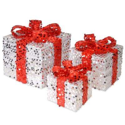 7 in., 9 in. and 11.5 in. H Sequin Gift Box Assortment (3-Piece)