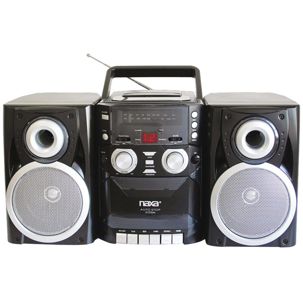 Naxa Portable Cd Player With Am/fm Radio, Cassette and Detachable Speakers