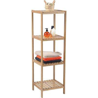 13 in. W Multi-Use Shelving Unit Tower 4-Shelves Ecobio in Bambo