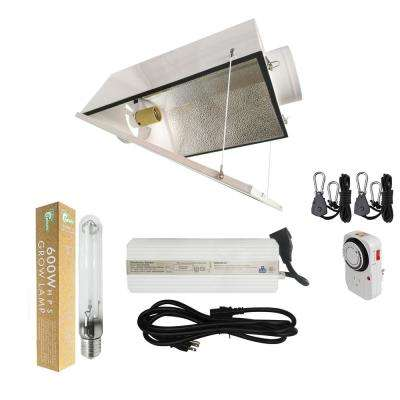 600-Watt HPS Grow Light System with 6 in. Large Air Cooled Hood Reflector with Glass