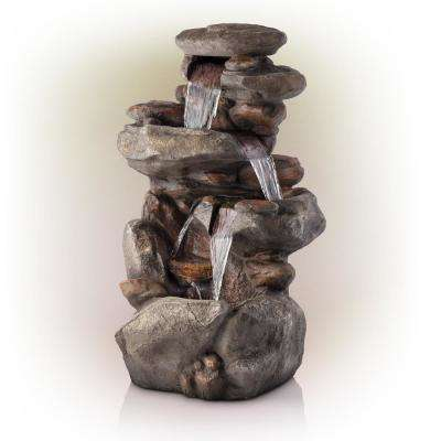 4 Tier Rock Water Fountain With Led Lights