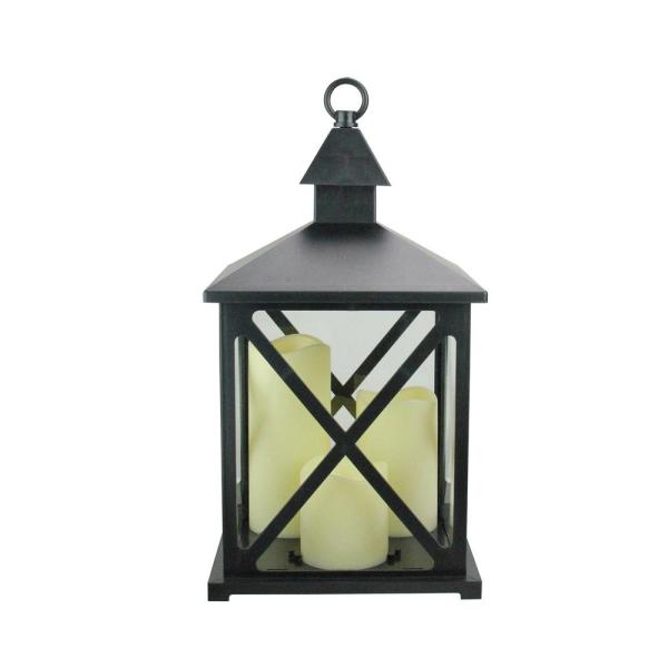 Northlight 12.5 in. Black Candle Lantern with 3-Flameless LED Candle