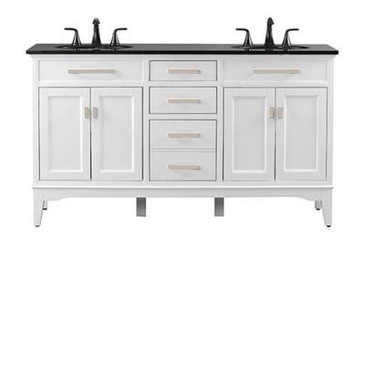 Manor Grove 61 in. W Double Bath Vanity in White with Granite Vanity Top in Black with White Sink