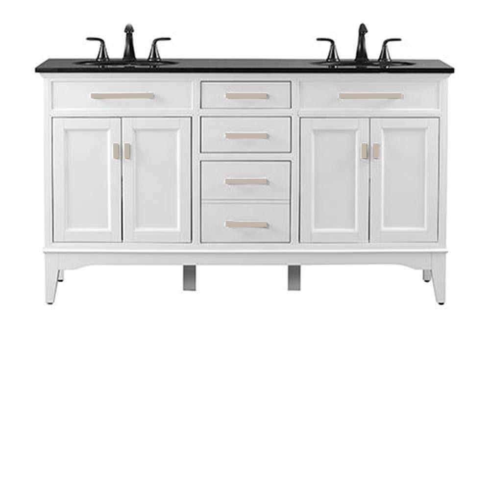 Home Decorators Collection Manor Grove 61 in. W Double Bath Vanity in White with Granite Vanity Top in Black with White Sink