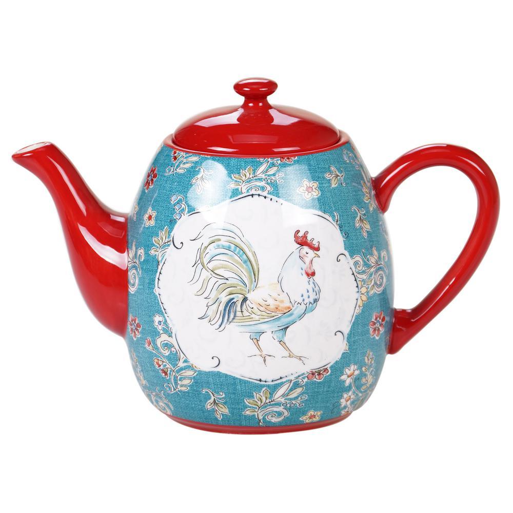 Certified International Tea Pot Ceramic Blue 40 Ounces Tunisian Sunset Collection