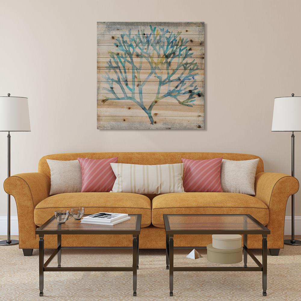 "36 in. x 36 in. ""Watercolor Coral"" Arte de Legno Digital Print on Solid Wood Wall Art"